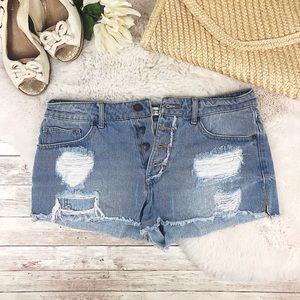 F21 Button Front Ripped Cali Jean Shorts 28